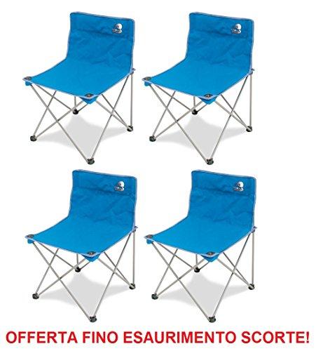 Storm Chaise pliante en fer avec tissu textilène bleu inclus sac de transport – Idéal pour le camping