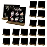 18 Pack Mini Chalkboard Signs, 5 X 6 Inch Vintage Wooden Tabletop Chalkboard Sign with Base Stand, Small Chalkboard Sign for Party, Restaurant, Wedding and Bar Countertop