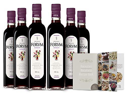 Forvm Merlot Ecológico, Vinagre de Vino Tinto, Fantástico para Cocinar, Usado 12 Años en el Menú de los Premios Nobel, Elaborado Artesanalmente, Producción Limitada, 2 Medallas Oro, Bot.Cristal, 500ml