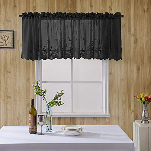 """ZHH Black Floral Lace Window Valance Romantic Embroidery Kitchen Curtain Cafe Curtain Semi Sheer Lace Curtain Sheer Voile Draperies Room Window Decor 54""""X24""""-Black"""