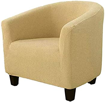 Youjoy Club Chair Slipcover High Stretch Slipcovers for Club Chair 1-Piece Tub Chair Slipcover Jacquard Spandex Armchair Cover Couch Furniture Protector Cover,Beige