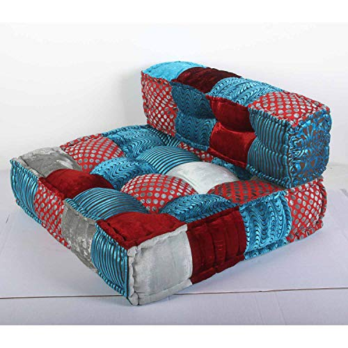 Casa Moro Orientalisches Patchwork Sofa Velvet Blau/Rot 80x75x46 cm (B/T/H) quadratisch mit Füllung | Indisches Chill-Kissen Handmade Lounge Sessel Sitzkissen in Boho Stil | MA3236