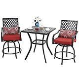 PHI VILLA Patio Bar Set, 3 pcs Outdoor Metal Bar Set with 2 Swivel Cushioned Stools & 31' Square Patio Bar Table with Umbrella Hole, Outdoor Furniture Set for Patios Backyard, Porches or Garden