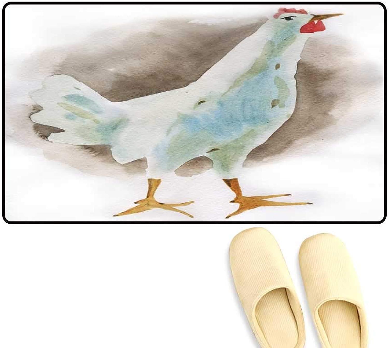 Door Mats for Inside Watercolor Illustration of a Hen