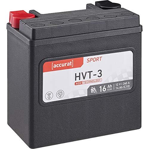 Accurat Motorrad-Batterie HVT-3 16Ah 12V 240A AGM SLA Starterbatterie wartungsfrei (YTX14L-BS)