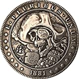 1881 Pirata Cráneo Souvenir Monedas Coleccionables 3D Metal...