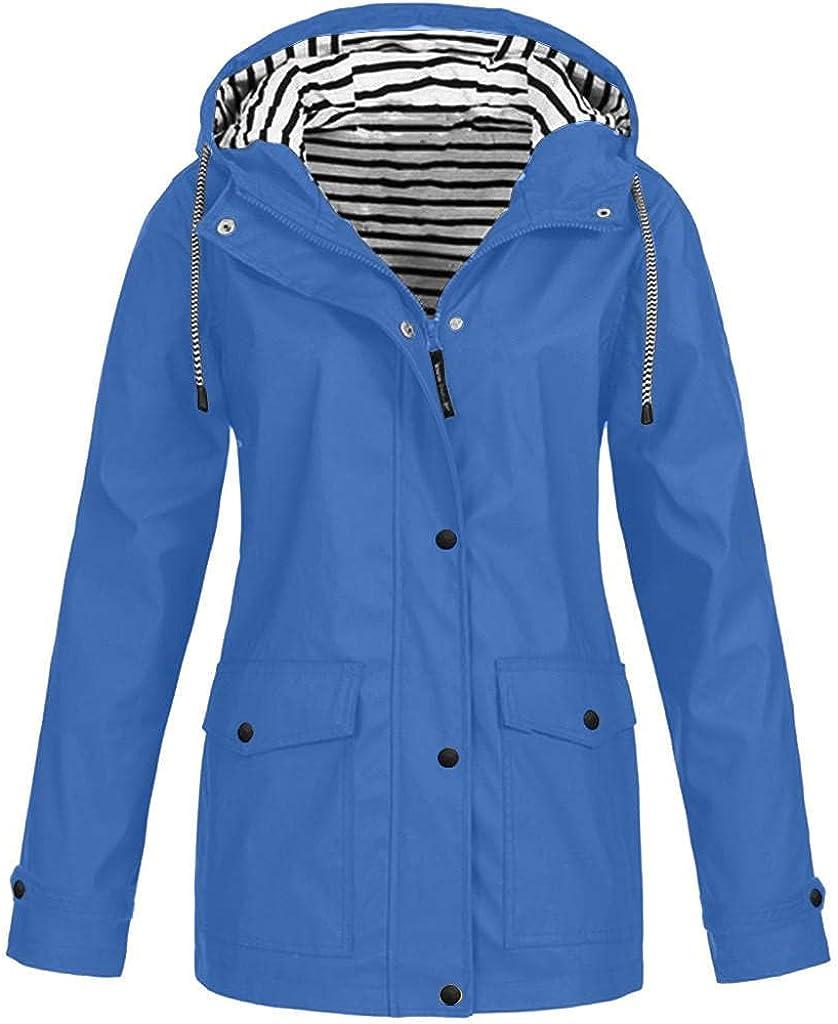 Hoodies for Womens Lightweight Raincoat Sweatshirts Tops Trench Rain Jacket Outdoor Plus Size Hooded Waterproof Blouses
