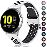 Lerobo Bands for Samsung Galaxy Watch Active 2 40mm 44mm/ Active, 20mm Soft Silicone Watch Band Replacement Straps for Galaxy Watch 42mm/ Gear S2 Classic/ Gear Sport Smart Watch White Black,Small