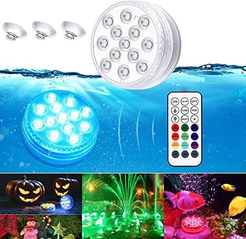 Ventdest Luces Sumergibles, Piscina Luz LED Impermeables, Control Remoto Cambio de Color RGB, Luz subacuática para Acuario, Estanque, Florero, Bañera, Piscina o Spa/Boda/Fiesta/Jardín