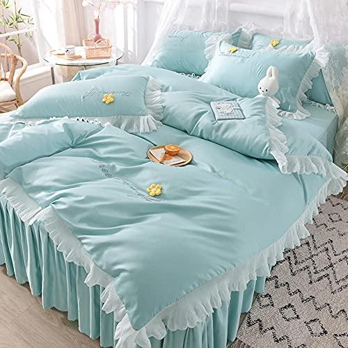 bettwäsche 4 teilig 135x200 schwarz,Conjunto de verano de seda de lavado de agua de mujeres adolescentes cuatro conjuntos de ropa de cama de verano-METRO_Cama de 1.5m (4 piezas) (20 200 200 × 30 cm)