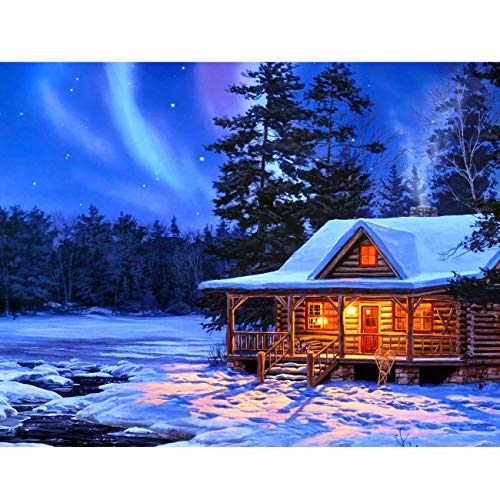 5D Diamond Painting Winter Aurora Log Cabin Full Drill by Number Kits, SKRYUIE DIY Rhinestone Pasted Paint with Diamond Set Arts Craft Decorations (12x16inch)