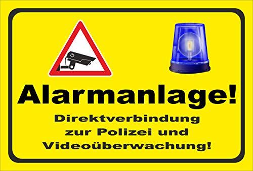 KE-Partyzubehör Schild 15x10cm Video-überwachung Alarm-anlage – 3mm Hartschaum   Bohrlöcher - 20 Varianten