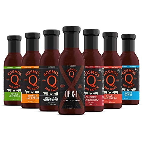 Kosmos Q BBQ Sauce Sampler Pack | Sweet, Smoky & Spicy Flavors | Best Barbeque Sauces | Seasoning & Marinade | Full Size Bottles