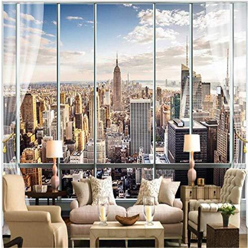 OTXA Tapeten 3D Stereo Wandbild Modernes virtuelles Fenster Wohnzimmer Schlafsofa Schlafzimmer New York Hintergrund-250 * 175
