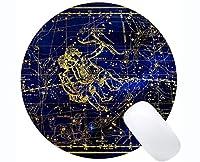 ロックエッジの丸いマウスパッド、ステッチエッジの丸いマウスパッドの星座がん子犬ライオンテーマ