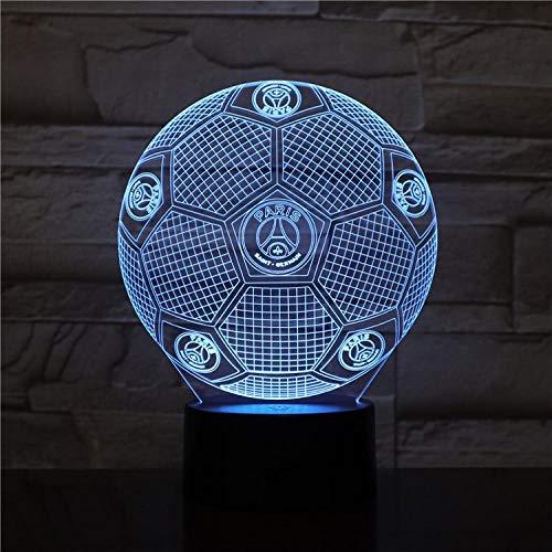 Luz de noche 3D Lámpara de mesa de ilusión de fútbol Paris Saint-Germain LED 7 color control remoto táctil lámpara de estado de ánimo de color USB lámpara de mesita de noche para el hogar