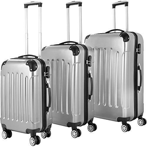 Monzana® - Hartschalenkoffer 3er Trolley-Set | Koffer Hartschale Gepäck | M – L – XL | Alu Teleskopgriff | Kantenschutz | 360° Rollensystem | Reisekoffer | Silber