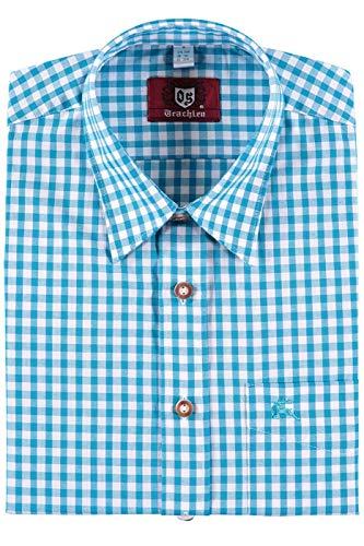 Orbis Textilien Trachtenhemd für Lederhosen Langarm Trachtenmode mit Hirsch Stickerei, L, Türkis