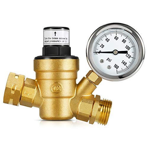 Kohree Adjustable RV Water Pressure Regulator Valve with Gauge, Upgrade Brass Lead-Free Water Pressure Reducer Reducing Valve w/ Two Inlet Screen Filters for RV Camper Travel Trailer