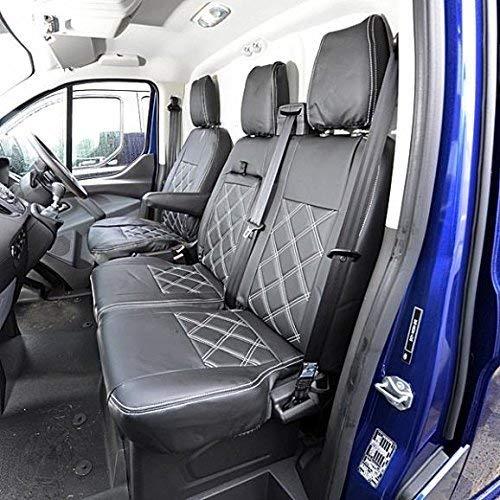 UK Custom Covers SC237AD2B Fundas de asiento delantero de cuero sintético a medida con costuras de