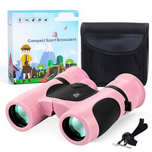Binoculares para Niños 8x21 Prismáticos para Niños PrismÁTicos Compacto A Prueba De Golpes para Niños Set como Regalo para Pequeños Exploradores de 4 a 12 Años (Rosa)