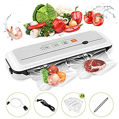 Vacuum Sealer Machine for Food Preservation/Automatic food sealer machines|Dry & Moist Modes|Led Indicator Lights|UL Certified| Suitable for Use in Camping and Home, with 15 Pcs Vacuum Bags