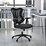 Flash Furniture Silla de escritorio ergonómica, giratoria, de malla, respaldo alto, reposabrazos ajustables, color Negro