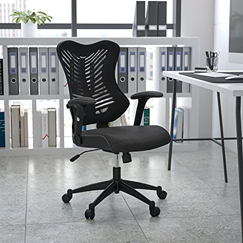 Flash Furniture High Back Designer Black Mesh Executive Swivel Ergonomic Office Chair with Adjustable Arms
