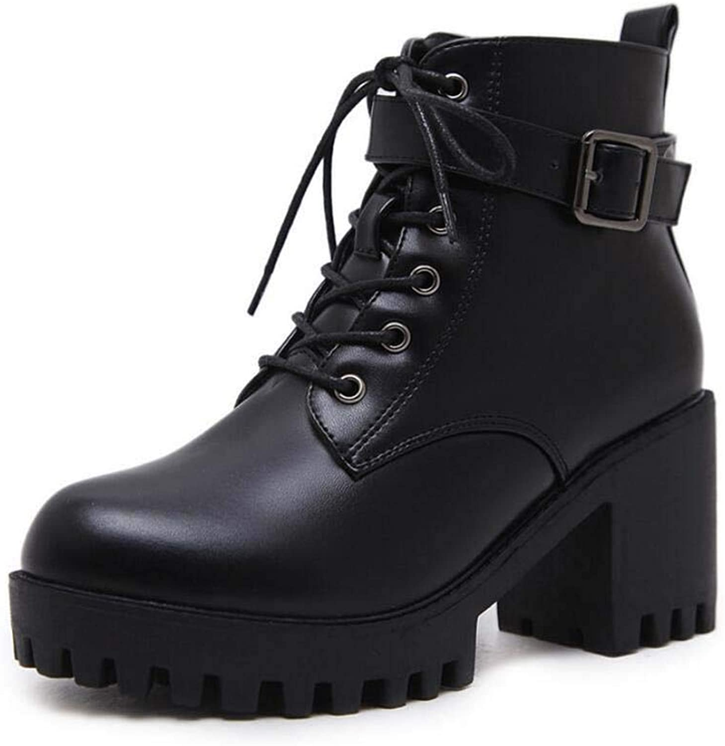 Tall Bootie Women Martin Boots Knight Boots Round Toe Low Heel Lace Up Belt Buckle Ankle Boots EU Size 34-40