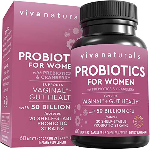 Probiotics for Women with 50 Billion CFU + 20 Strains, Complete Shelf-Stable Womens Probiotic Supplement with Prebiotic and Cranberry to Support Stomach, Digestive System & Vaginal Health, 60 Capsules