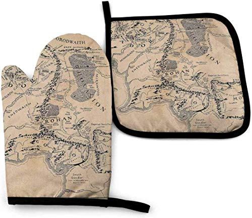 Mapa Moderno de la Tierra Media Conjunto de Manoplas y Porta ollas para Horno Vintage Guante Impermeable Resistente al Calor para cocinar Barbacoa Hornear Parrilla