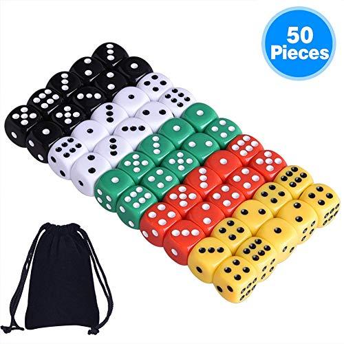 AUSTOR 50 pezzi 6 lati a dadi, 5 x 10 colori diversi da 16 mm acrilico dadi con libera borse di velluto per tenzi, farkle, tombola, truffe o insegnare matematica