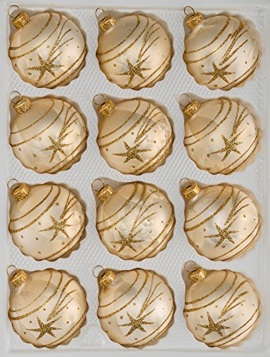 12 TLG. Glas-Weihnachtskugeln Set in Ice Champagner Gold Komet- Christbaumkugeln - Weihnachtsschmuck-Christbaumschmuck