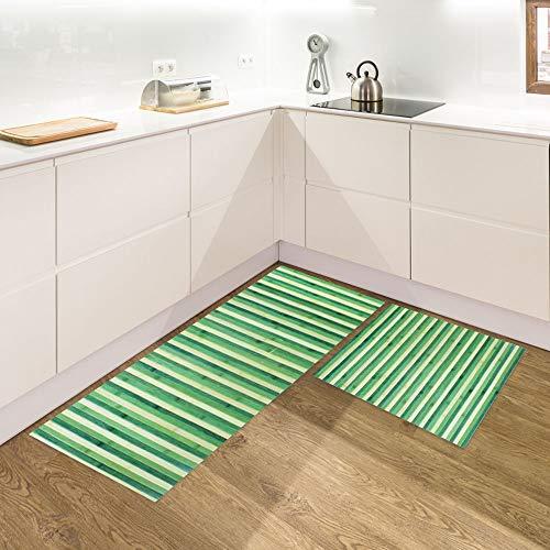 IlGruppone Set di 2 tappeti da Cucina Antiscivolo e Lavabili passatoia Cucina,Ingresso,Camera - VerdeDegrade