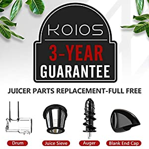 KOIOS Juicer, slow Juicer Extractor with reverse function, cold press Juicer Machines with quiet Motor, high nutrient…  