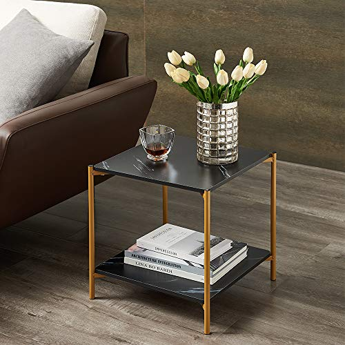 17in Modern Living Room Square Side End Coffee Table Nightstand in Faux Marble Top and Gold Metal Frame(Black)
