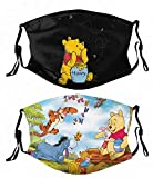 2pcs Winnie The Pooh With Filter Face Cover Reusable Bandana Washable Scarf For Men Women Teens Adults