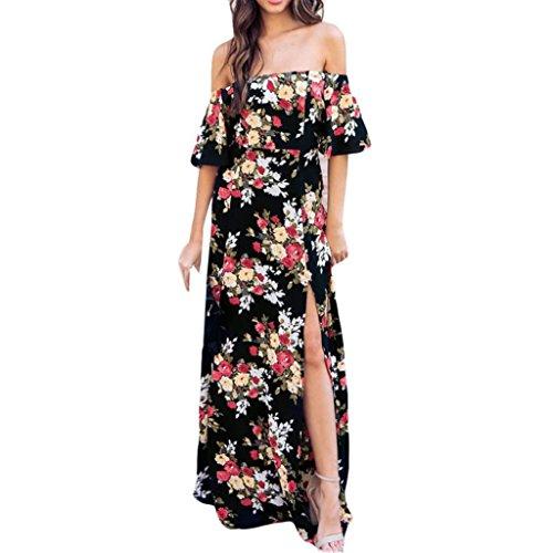 AMUSTER Damen Sexy Schulterfrei Blumen Kleid Sommer Rock Lange Kleider Sommerkleid Abendkleid Casualkleid Partykleid Asymmetrisches Blumenkleid Bohemian Kleider (XXL, Schwarz)