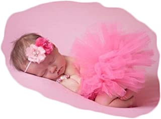 Vemonllas Fashion Newborn Girl Baby Outfits Photography Props Headdress Tutu Skirts Pink