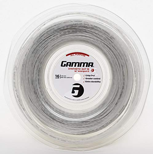 Gamma Sports Synthetic Gut with Wearguard Tennis String Reel, 660'/16g, White