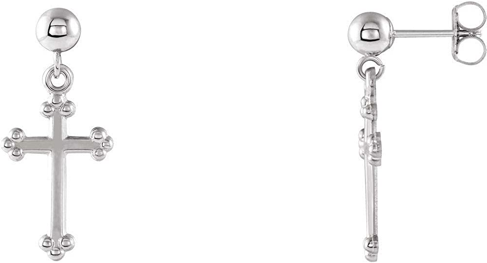 Cross Crucifix and Ball Stud Earrings (21mm x 9.7mm)