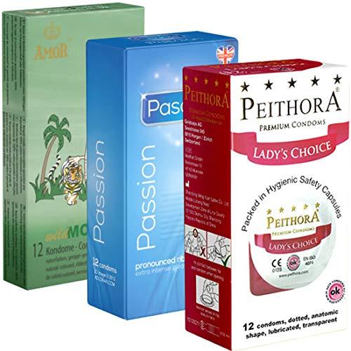 Der Kondomotheke® Peaks and Valleys Mix Nr. 3 - 3 Schachteln stimulierende Kondome - Kondome mit Rippen und Noppen - Orgasmus-Kondome zum schneller Kommen, 3 x 12 Stück