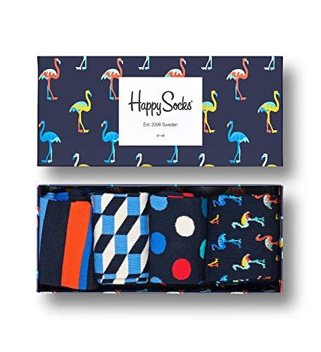 Happy Socks Navy Gift Box Calze, Multicolore (Multicolour 620), 7/10 (Taglia Unica: 41-46) (Pacco da 4) Uomo