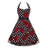 COZOCO Wrap Sash Vestido Largo Sexy Elegante y Comodo Dress Suelto Casual Maxi Vestidos Estampado Floral(Negro,EU-36/CN-M)