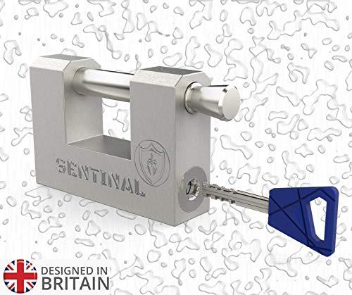 Monoblock-Vorhängeschloss STL70 mm mit 3D-Schlüsseln – für draußen, robust, hohe Sicherheit, sägensicher, schneidend, Bohrschutz, patentiertes Schloss. Perfekt für Behälter und Rollläden