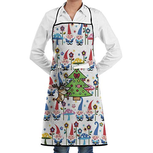 N / A Adjustable Garden Apron Novelty Apron Personalised Bib Apron Unisex Cooking Aprons Cooking Apron Gnomes Apron Flower Shop Gardening Aprons 52X72Cm