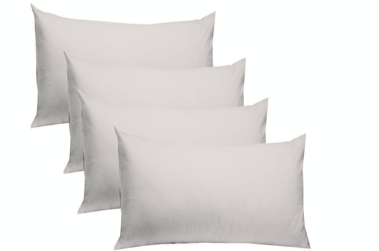 COTTON CRAFT 4 Pack Pillow Cases - Standard 20x30 - White - 220 TC Thread Count Soft Sateen - Generous 4 Inch Hem - 100% Pure Combed Ringspun Cotton - Easy Care Machine Wash