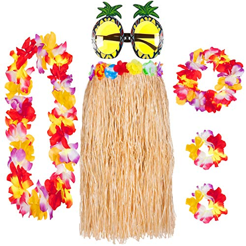 Deluxe 6 Piece Hawaiian Skirt Set with Lei Garland Pineapple Glasses Summer Hawaii Party (Straw)