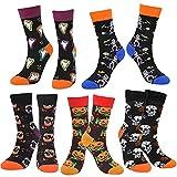 HOWAF Bunt Halloween Socken Baumwolle, 5 Paare Halloween Neuheit Socken für Damen Frauen Männer Mädchen Junge, Kürbis Totenkopf Socken für Halloween Verkleiden Kostüme Party Zubehör Unisex