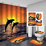 Fashion_Man Sea World Delphin Duschvorhang-Set Badezimmer Duschvorhang Anti-Rutsch-Badematte WC-Deckelbezug Polyester Wasserdicht Badvorhang & Vorleger Set mit Haken Delphin und Sonnenschein (4 Stück)